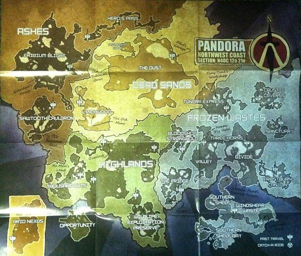 Borderlands 2 World Map Of Pandora